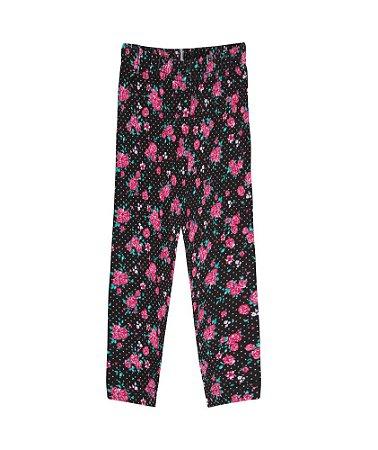 Calça Legging Menina Rotativa Cotton - Estampa Flores