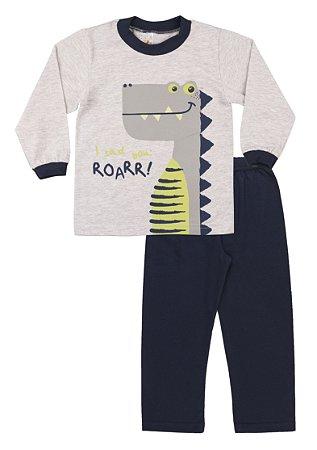 Pijama Menino Meia Malha Modelo que Brilha no Escuro - Mescla Claro com Marinho