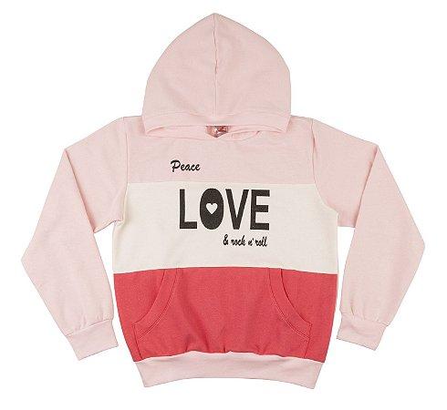 Blusão Menina com Bolso e Touca Moletom - Rosa Claro com Coral