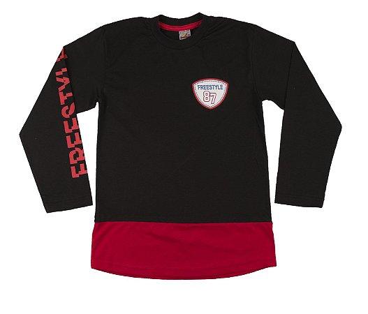 Camiseta Manga Longa Menino Meia Malha FIO 30/1 - Preto com Vermelho