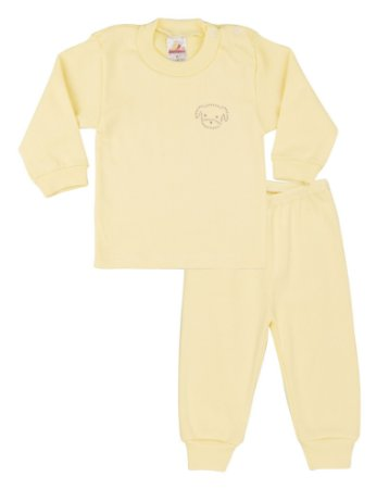 Pijama Menina Ribana Canelada - Amarelo