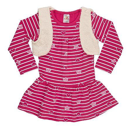Vestido com Colete Cotton/Pelo - Cereja
