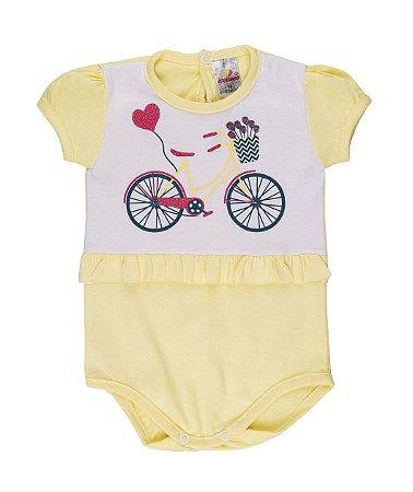 Body Menina Meia Malha 30/1 - Branco com Amarelo Bebê