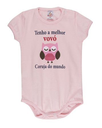 Body Menina Meia Malha 30/1 - Rosa Bebê