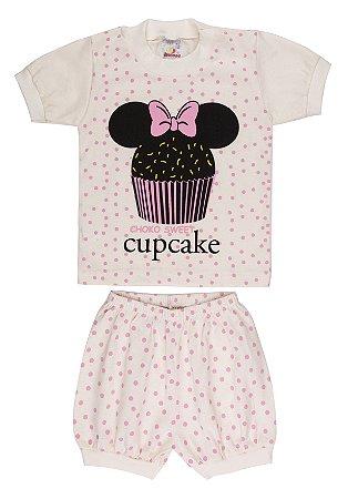 Pijama Menina Meia Manga Meia Malha - Cupcake - Marfim