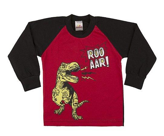 Camiseta Manga Longa Menino Raglan Meia Malha Fio 30/1 - Vermelho com Preto