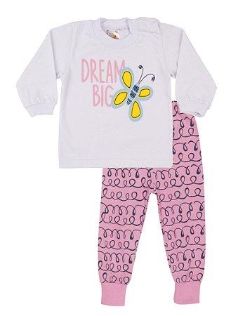 Pijama Menina Meia Malha - Branco com Chiclete