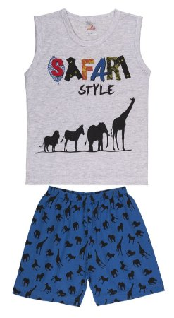 Pijama Machão Meia Malha - Safari - Mescla Bebê com Royal