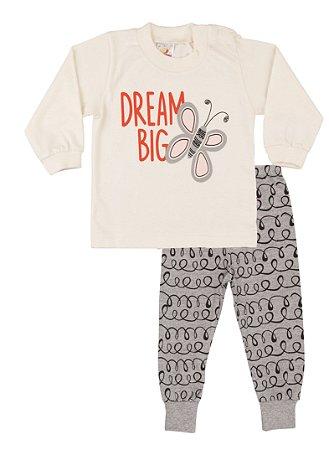 Pijama Menina Meia Malha  Marfim com Mescla