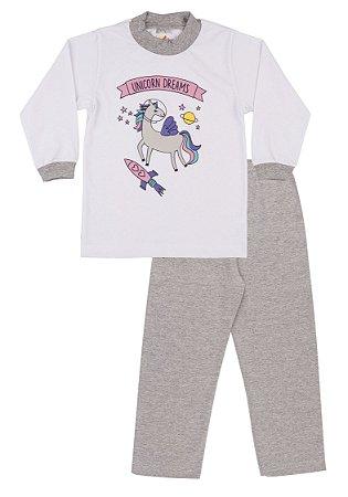 Pijama Menina Meia Malha - Branco com Mescla