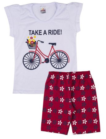 Conjunto Menina Ciclista Meia Malha 30 / Cotton - Branco com Vermelho