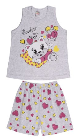Pijama Menina Regata Meia Malha - Gatinha - Mescla Bebê