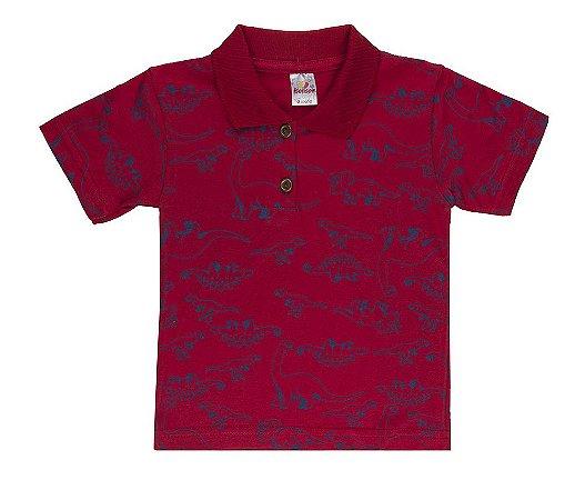Camiseta Menino Gola Polo Meia Malha 30/1- Vermelho