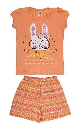 Pijama Menina Meia Manga Meia Malha - Salmão