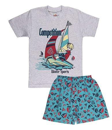 Pijama Menino Meia Manga Meia Malha - Mescla Bebê com Verde Lago