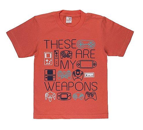 Camiseta Menino Meia Malha 30/1 - Coral