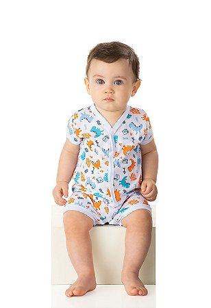 Pijama Macaquinho Menino Meia Malha Rotativa - Estampa Dinossauro