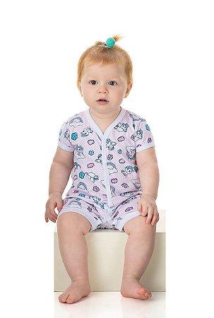 Pijama Macaquinho Menina Meia Malha Rotativa - Estampa Unicórnio