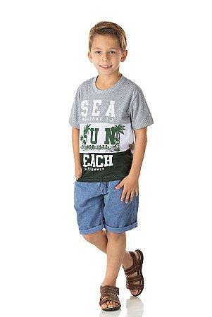 Camiseta Menino com Recorte Meia Malha Fio 30/1 - Mescla Escuro, Branco e Musgo