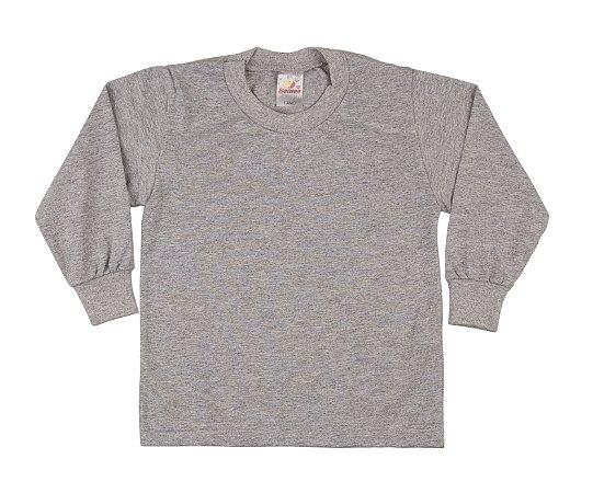 Camiseta Escolar Menino Manga Longa Meia Malha Fio 30/1 - Mescla