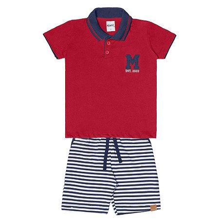 Conjunto Menino Camiseta Gola Polo Meia Malha e Bermuda Moletinho- Vermelho com Marinho