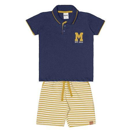 Conjunto Menino Camiseta Gola Polo Meia Malha e Bermuda Moletinho - Marinho com Amarelo Mostarda
