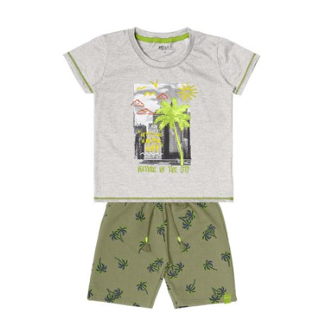 Conjunto Menino Camiseta Meia Malha e Bermuda Moletinho - Mescla com Musgo