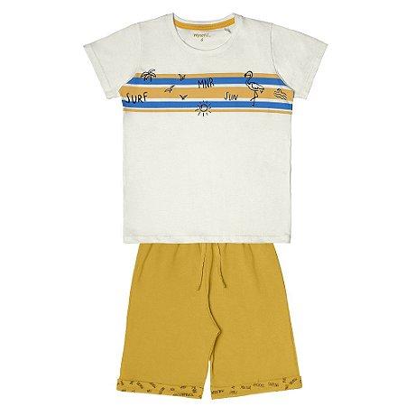 Conjunto Menino Camiseta Meia Malha e Bermuda Moletinho - Off White com Amarelo Mostarda