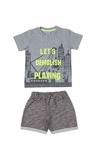Conjunto Menino Camiseta Meia Malha Bermuda Moletinho Devore - Mescla