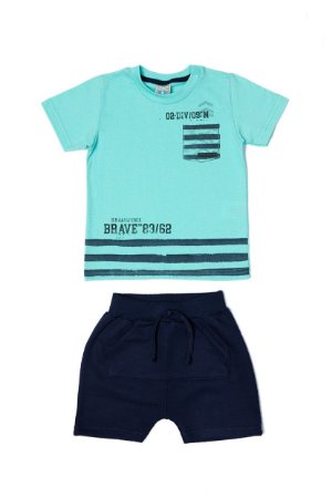 Conjunto Menino Camiseta Meia Malha Bermuda Moletom - Lago com Marinho