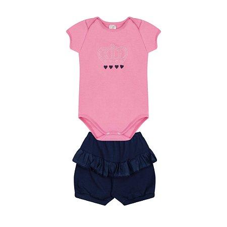 Conjunto Menina Body com Babado Shorts Cotton - Chiclete com Marinho