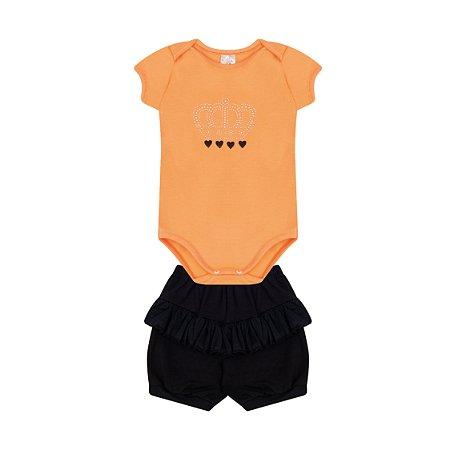Conjunto Menina Body com Babado Shorts Cotton - Salmão com Preto