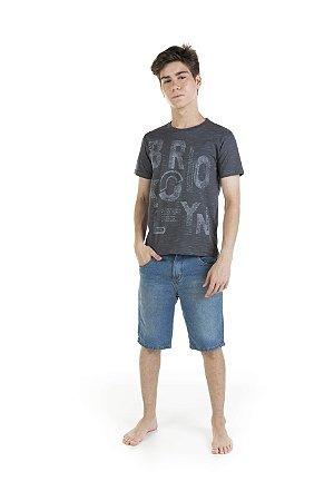 Camiseta Menino Meia Malha Jet - Chumbo