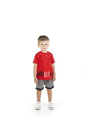 Conjunto Menino Camiseta Meia Malha Bermuda Moletom Listrado - Vermelho com Preto