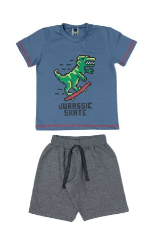 Conjunto Menino Camiseta Meia Malha Bermuda Moletom - Azul com Mescla