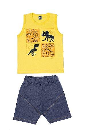 Conjunto Masculino Regata Meia Malha Bermuda Moletinho - Amarelo com Marinho