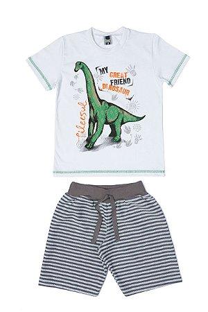 Conjunto Menino Camiseta Meia Malha Bermuda Moletom List - Branco com Chumbo