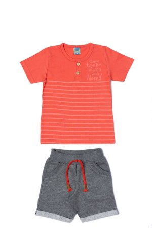 Conjunto Menino Camiseta Meia Malha Bermuda Moletom - Coral