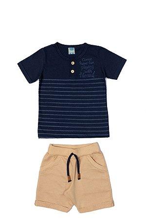 Conjunto Menino Camiseta Meia Malha Bermuda Moletom - Marinho