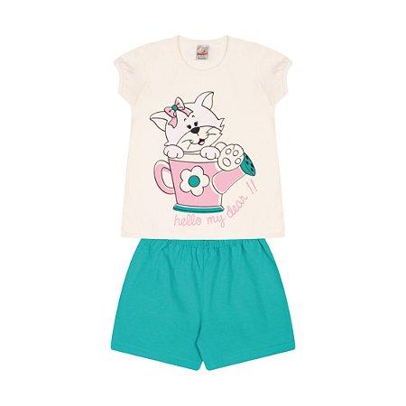 Pijama Menina Meia Manga Meia Malha - Marfim com Tropical