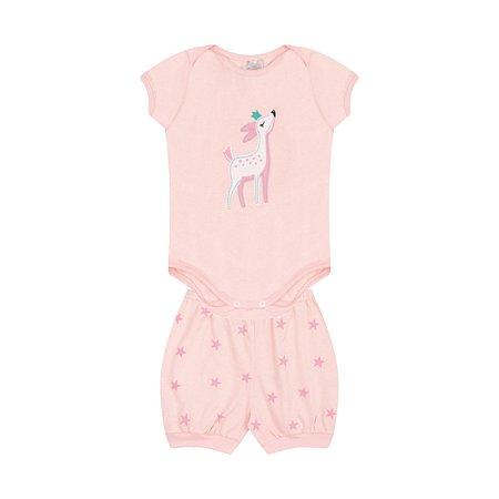 Conjunto Body Pijama Menina Meia Malha - Rosa Claro