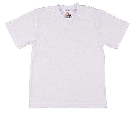 Camiseta Escolar Menino Meia Manga Meia Malha Fio 30/1 - Branco