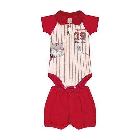 Conjunto Body Gola Polo Menino Ribana 1x1 - Marfim com Vermelho