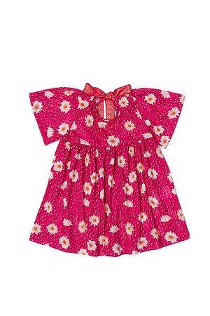 Vestido Menina em Meia Malha Sublimada - Pink