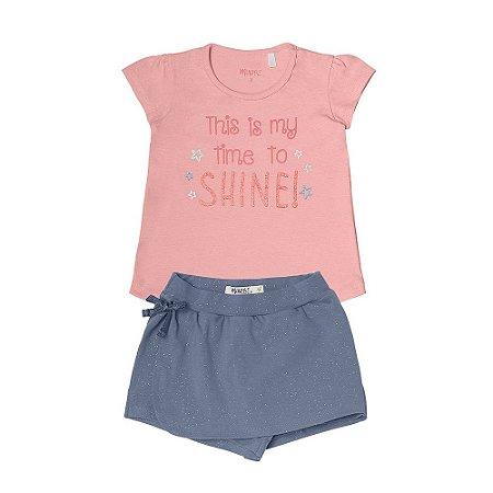 Conjunto Menina Blusa Meia Malha e Shorts/Saia Cotton - Rosa Claro com Azul