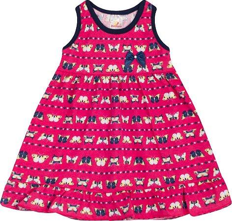 Vestido Menina Regata Meia Malha - Estampa Borboletas