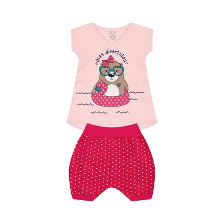 Conjunto Menina Batinha Meia Malha Fio 30/1 Cotton - Rosa Claro com Cereja