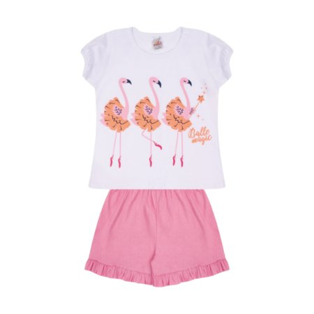 Pijama Menina Meia Manga Meia Malha - Branco com Chiclete