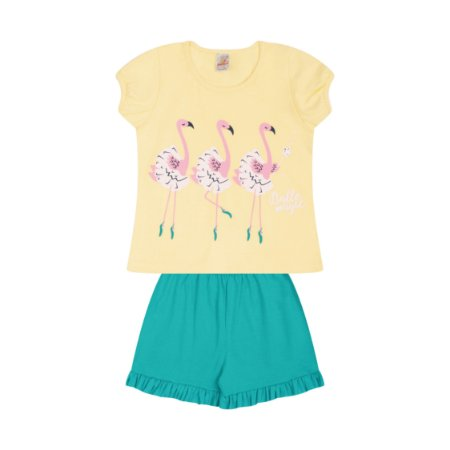Pijama Menina Meia Manga Meia Malha - Amarelo com Tropical