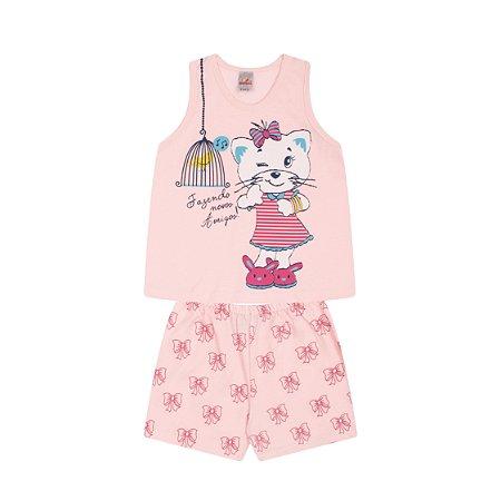 Pijama Menina Regata Meia Malha - Rosa Claro